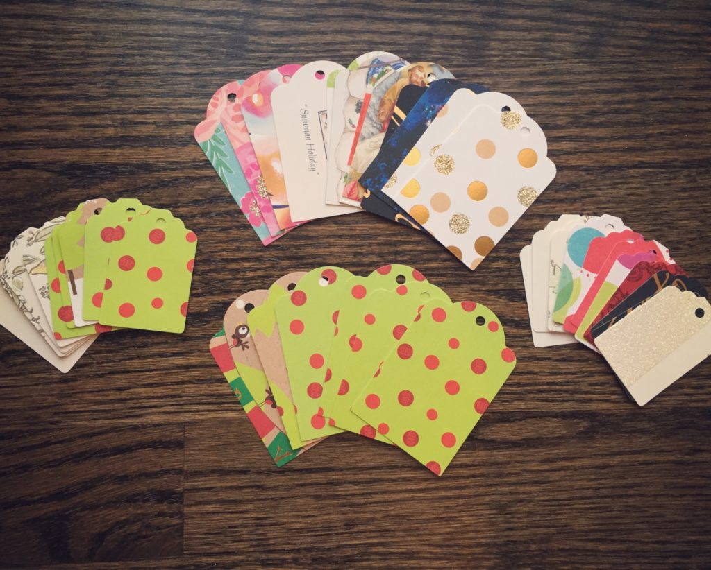 gift tags made from upcycled greeting cards