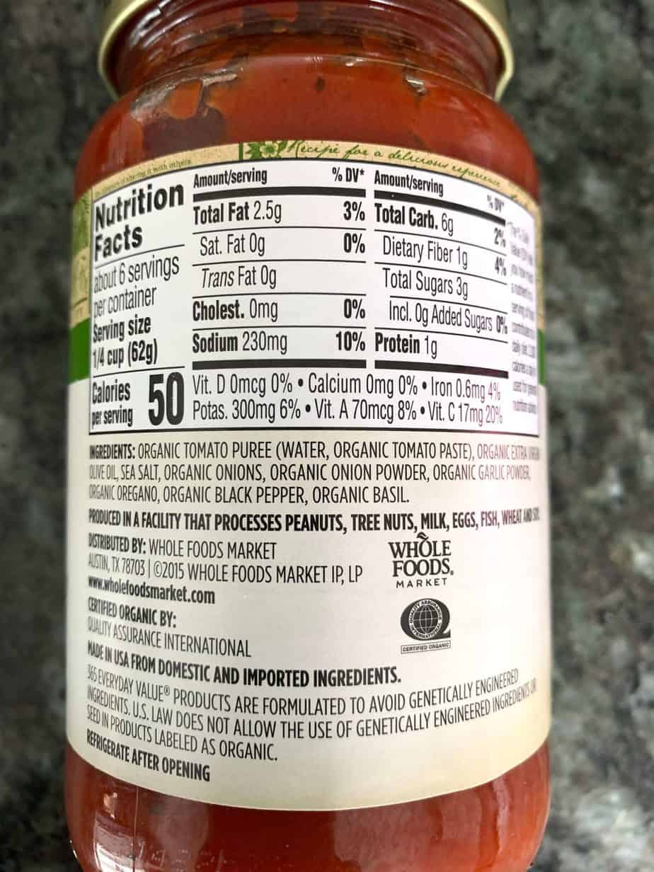 Whole Foods Pizza Sauce ingredients