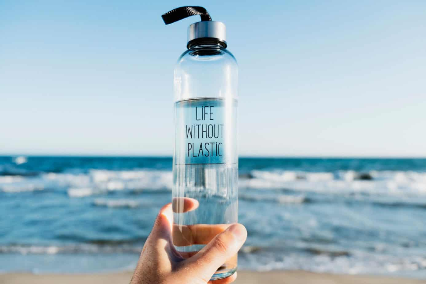 low waste kitchen swaps - glass water bottle