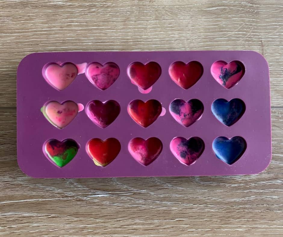 mini heart crayons in silicone mold