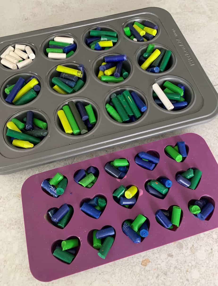 earth day crayons in molds