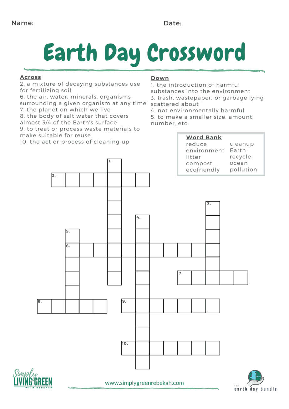 earth day crossword puzzle