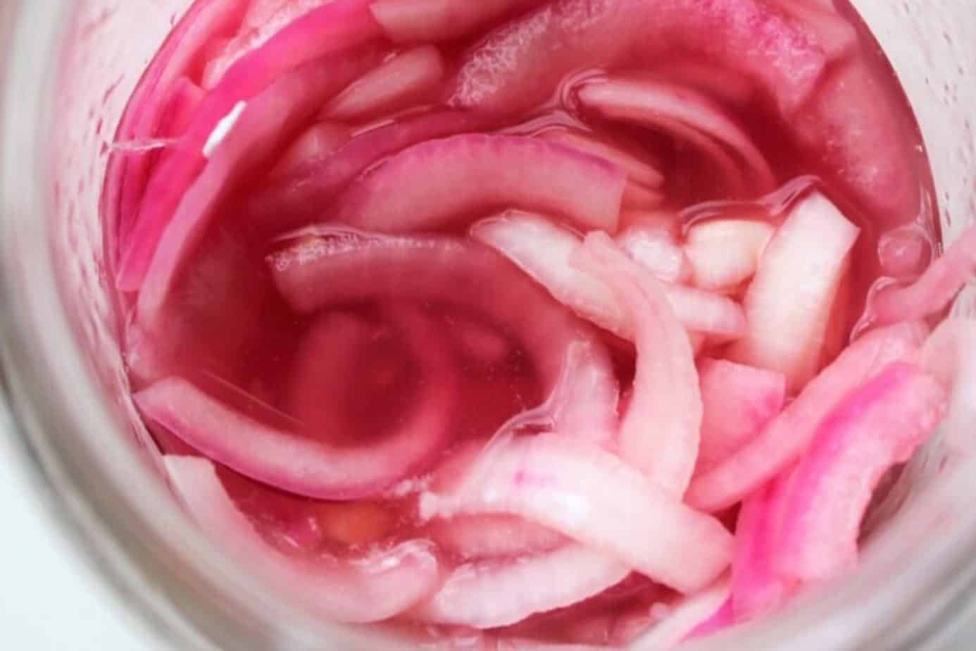 quick pink pickled onions
