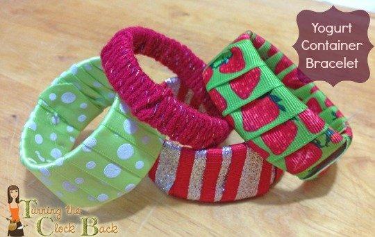 upcycled yogurt cup bracelets