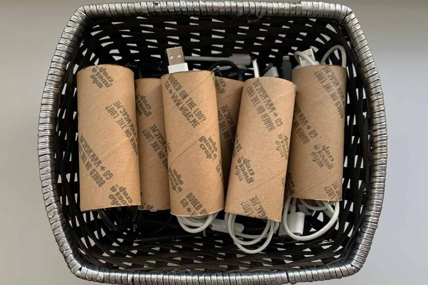 upcycled toilet paper rolls